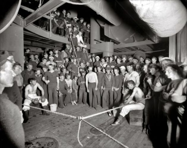 """Waiting for the gong."" dikapal U.S.S. Oregon circa 1897"