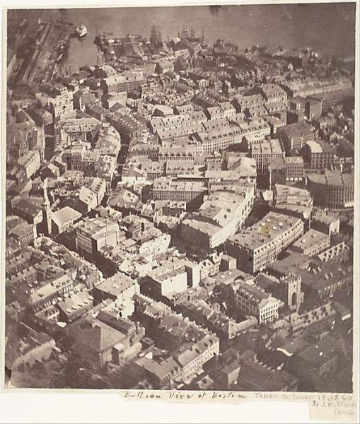 """Foto pertama dari udara di sebuah kota di Amerika, berjudul """"Boston, like eagle dan Wild Goose See It"""" - Diambil dari balon udara pada Oktober, 1860"""